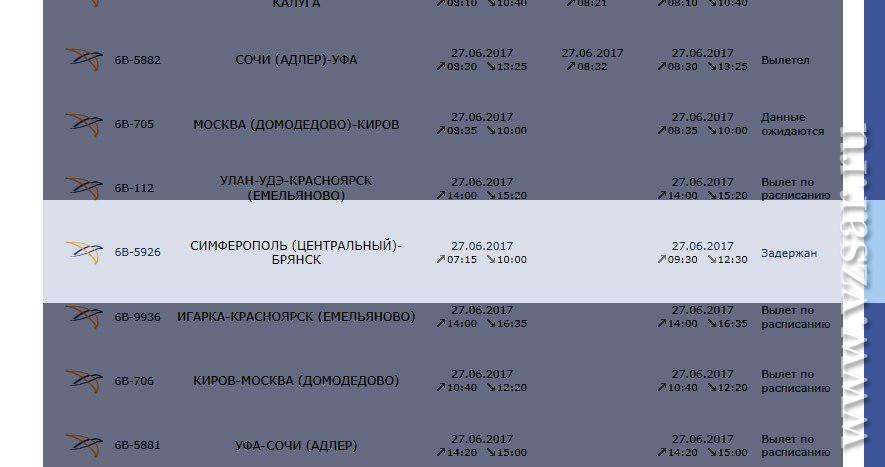 Вweb-сети интернет проинформировали о задержке рейса «Симферополь— Брянск» из-за задымления мотора