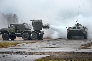 Саратовские военные скрыли железнодорожный узел в дыму