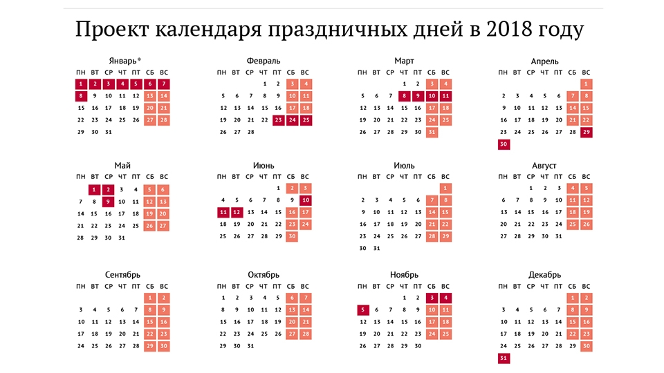 Сколько выходных новогодних дней в 2018 году