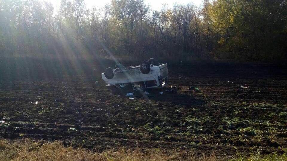Натрассе перевернулся минивэн: пострадали три человека